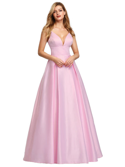 Ever Pretty Frauen A-Line V-Ausschnitt Satin bodenlanges Abendkleid 07927