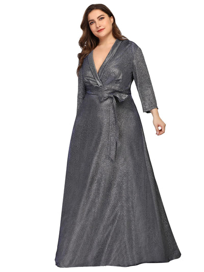 Ever Pretty Frauen Plus Size V-Ausschnitt Satin bodenlanges Abendkleid 07950