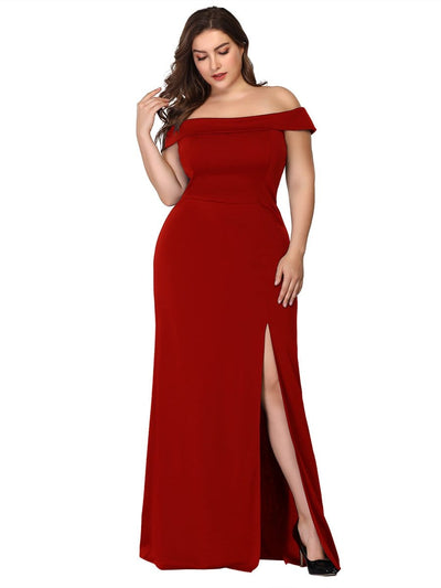 Ever Pretty Frauen Plus Size Ohne Schulter bodenlanges Abendkleid 07952