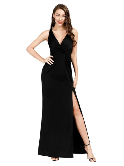 Ever Pretty Frauen V-Ausschnitt Wrap Side Split bodenlangen Abendkleid EZ00907