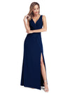 Ever Pretty Frauen V-Ausschnitt Wrap Side Split Bodenlangen Abendkleid Ez00907-Navy Blau 4