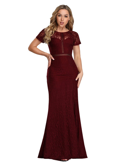 Elegant Bodycon Spitzen Langes Abendkleid