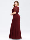 Plus Size Elegant Bodycon Spitzen Langes Abendkleid-Burgundy 2