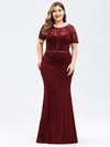 Plus Size Elegant Bodycon Spitzen Langes Abendkleid-Burgundy 1