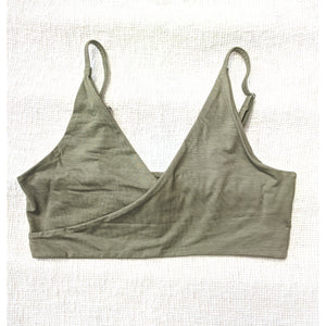 Factory Seconds Harmony Bralette In Myrtle Green Thin Straps