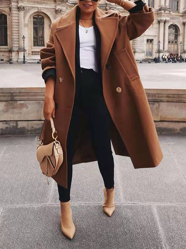 Casual Double-Breasted Solid Color Coat