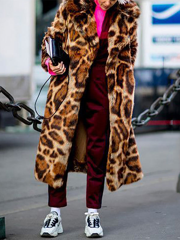 Fashion Leopard Long Sleeve Fur Overcoat