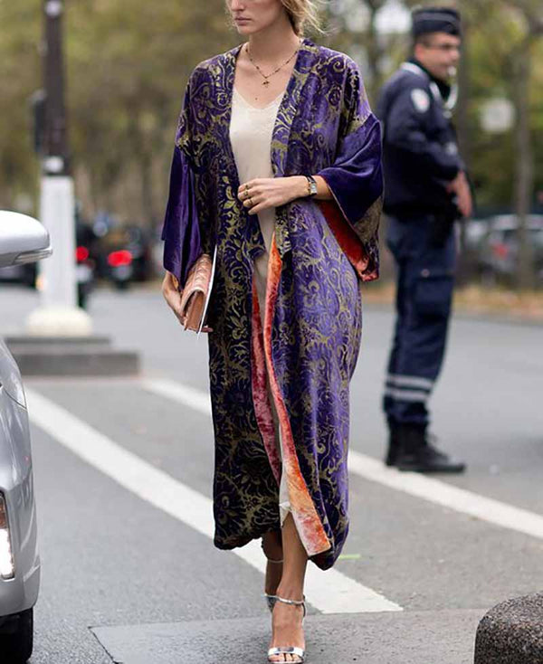 Printed Colour Long   Sleeve Coat