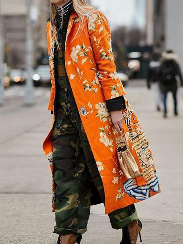 Women's Fashion Turndown Collar Long Sleeve Printed Color Overcoat