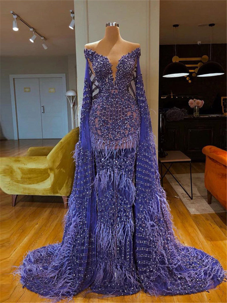 Sexy Deep V-neck Feather See Through Evening Maxi Dress