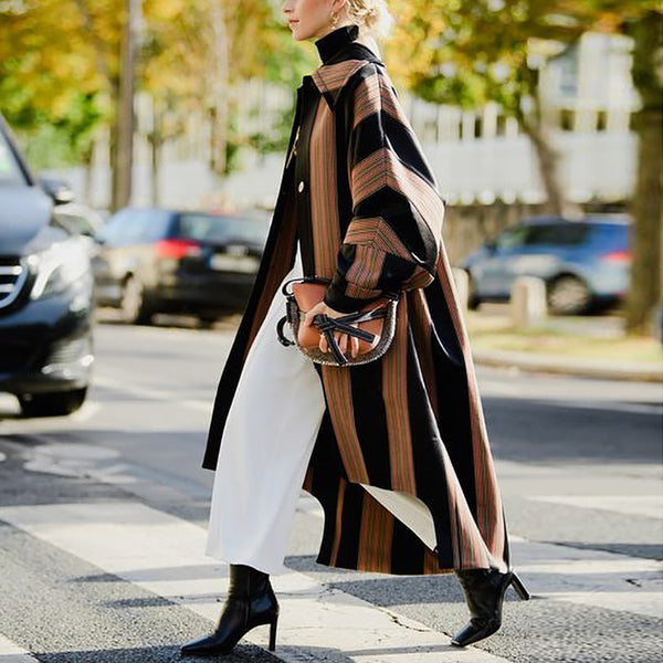 Fashion Color Matching Stripes Loose Irregular Coat