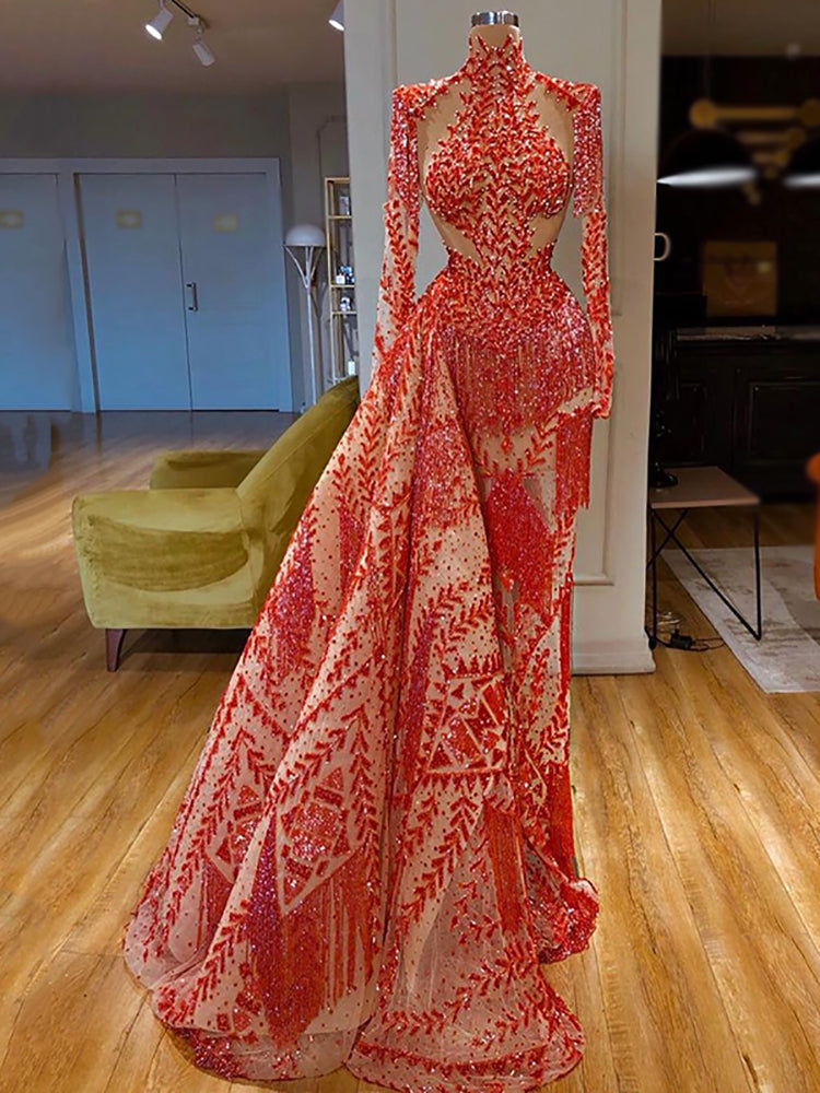Fashion lady sexy tassel mesh evening dress