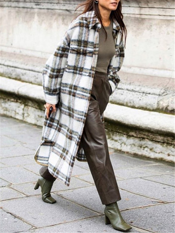 Fashion Everyday Loose Plaid Coat