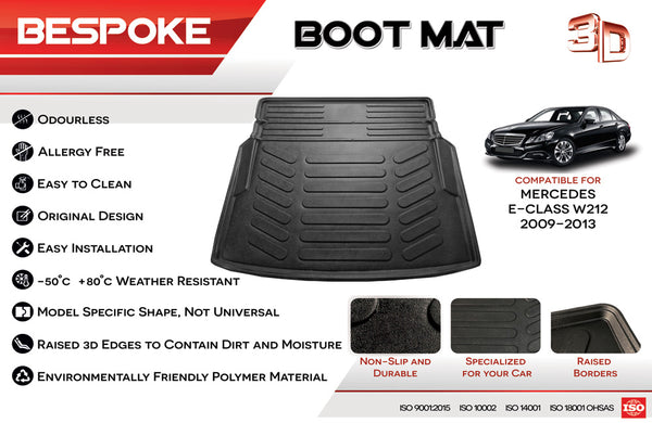 WECEDES E CLASS W212 SALOON TAILORED PREMIUM BOOT MAT TRAY WITH LIP