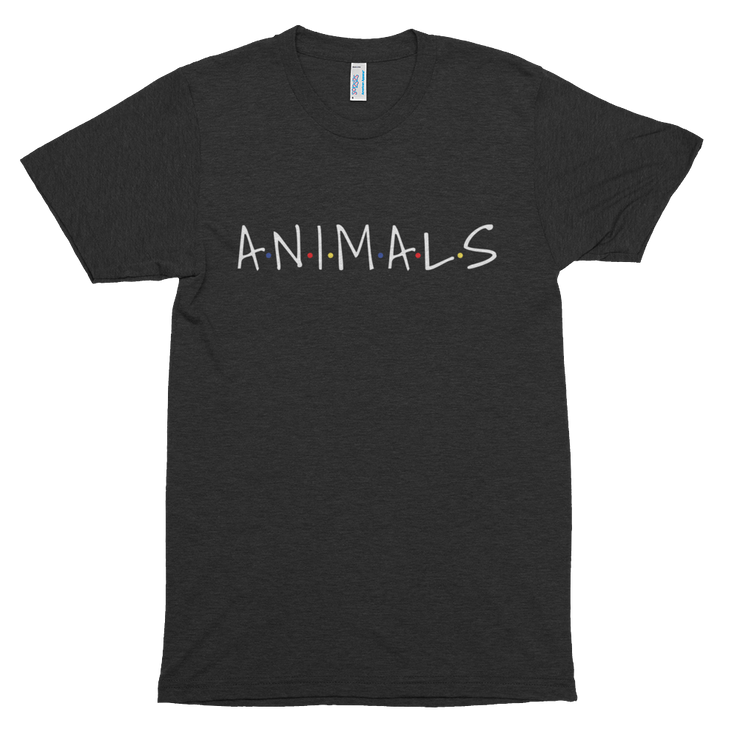 "Friends Logo parody ""Animals"" shirt. Black shirt, with black font. Also available in Cranberry, Coffee, and teal."