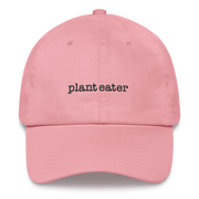 "Light pink dad hat, that reads ""Plant Eater"" in black lettering. Cute, and simple. Get ready for sunny days in this cap!"
