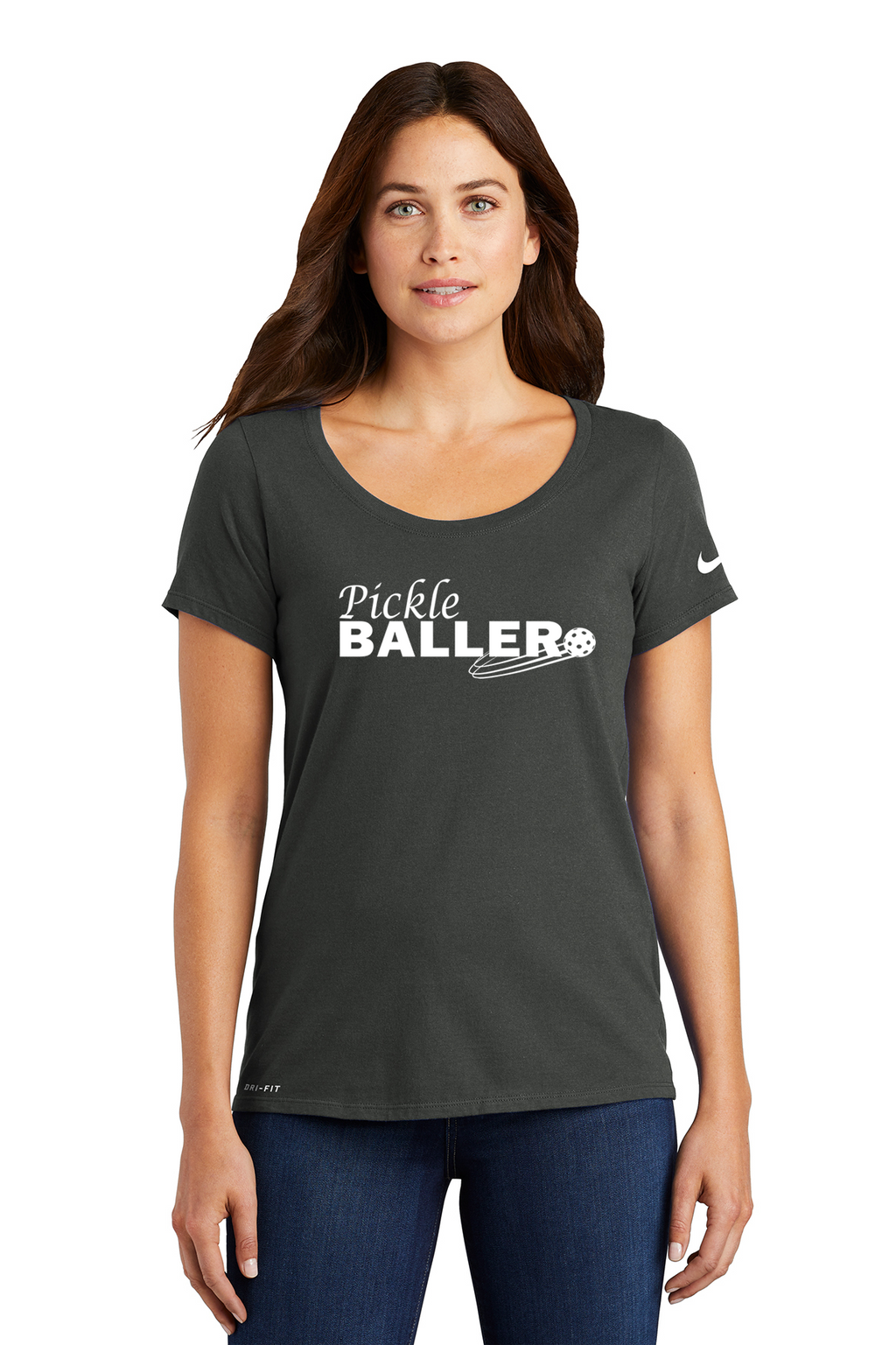 Ladies NIKE DRI-FIT Cotton/Poly Scoop Neck Tee 'Pickleballer'