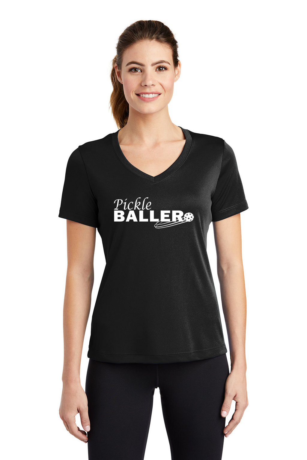 Ladies Short Sleeve Performance V-Neck Tee 'Pickleballer'