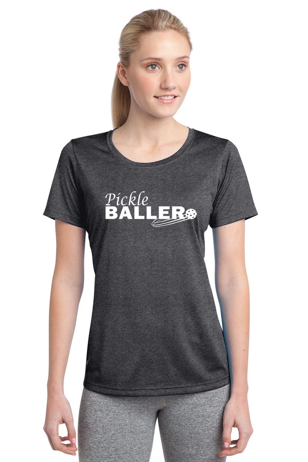 Ladies Heathered Short Sleeve Performance Scoop Neck Tee 'Pickleballer'