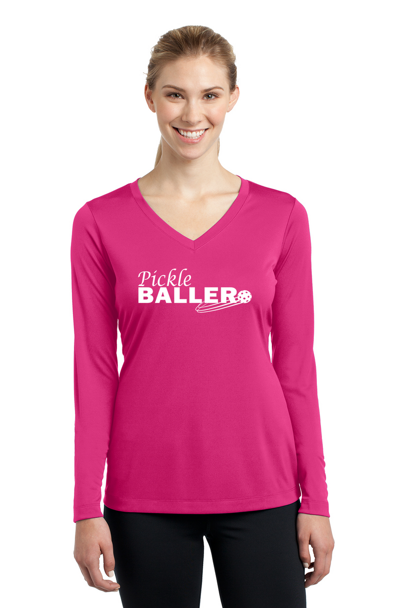 Ladies Long Sleeve V-Neck Performance Shirt 'Pickleballer'