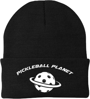 Black pickleball knit cap