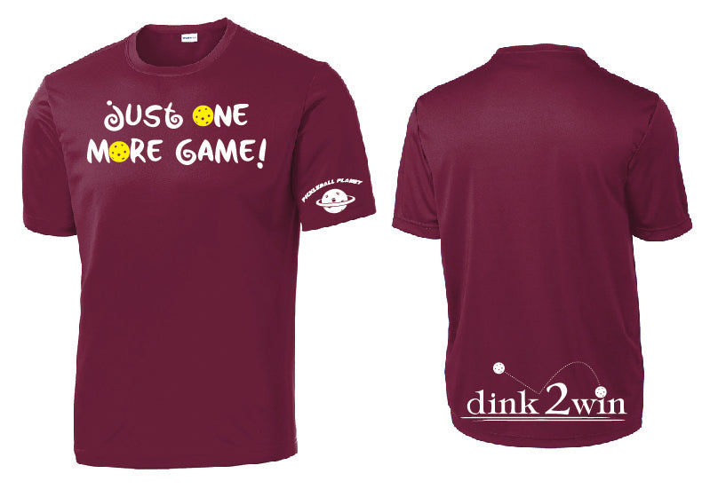 Men's Short Sleeve Performance Tee 'Just One More Game!' Cardinal Red