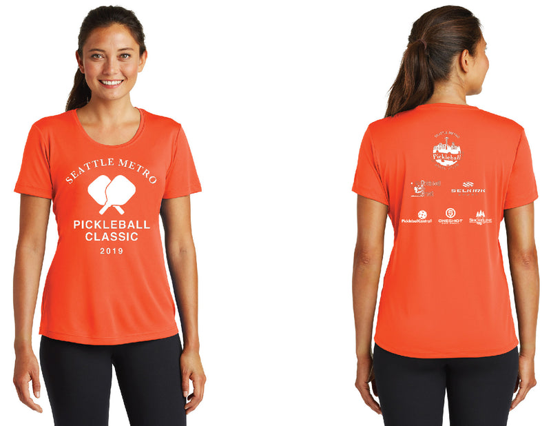 Women's Short Sleeve Performance 'Seattle Metro' Neon Orange Tournament Shirt