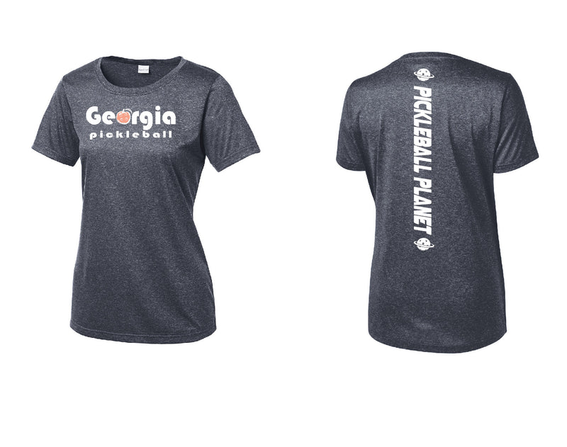 Ladies Short Sleeve Scoop Neck Heather Navy Georgia Pickleball