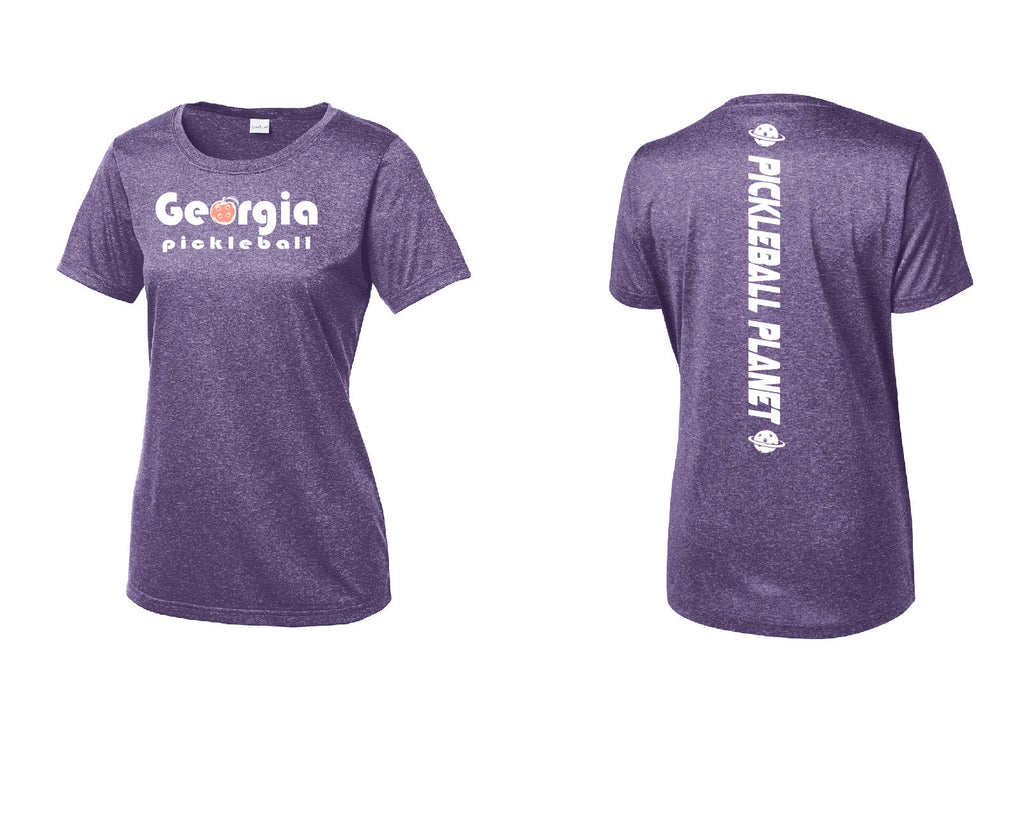 Ladies Short Sleeve Scoop Neck Heather Purple Georgia Pickleball