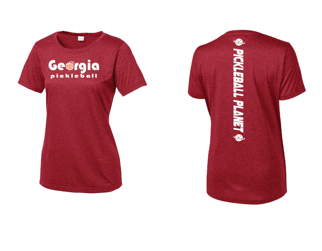 Ladies Short Sleeve Scoop Neck Heather Red Georgia Pickleball