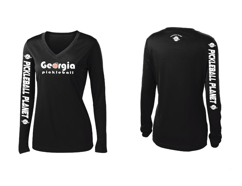 Ladies Long Sleeve Black Georgia Pickleball
