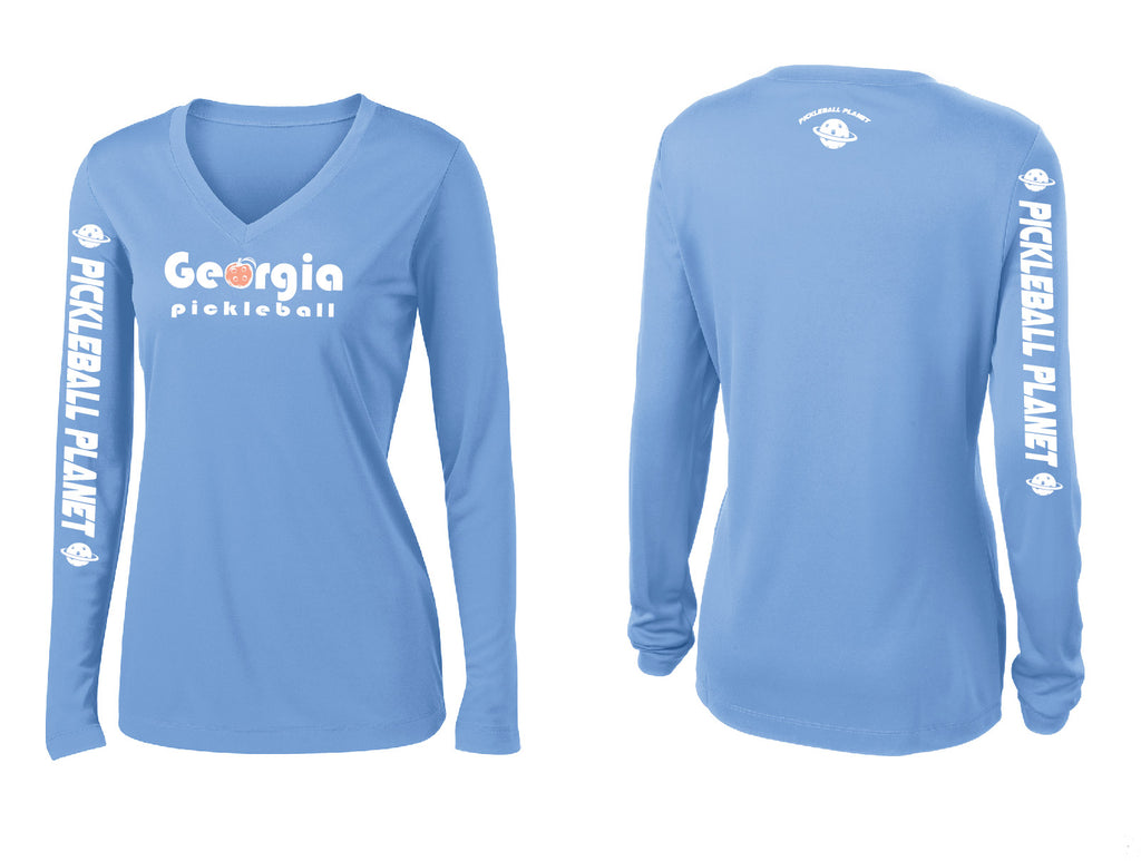 Ladies Long Sleeve Carolina Blue Georgia Pickleball