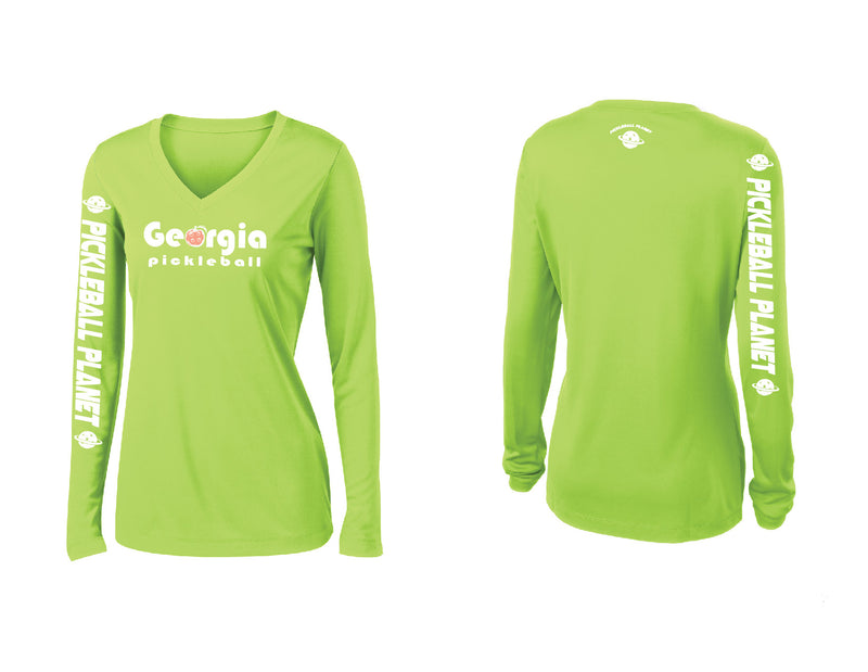 Ladies Long Sleeve Lime Shock Georgia Pickleball