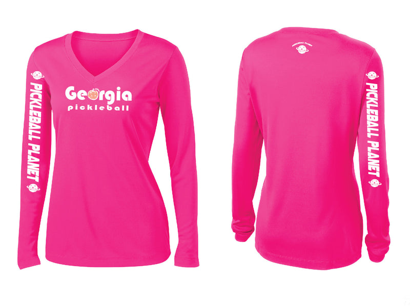 Ladies Long Sleeve Neon Pink Georgia Pickleball