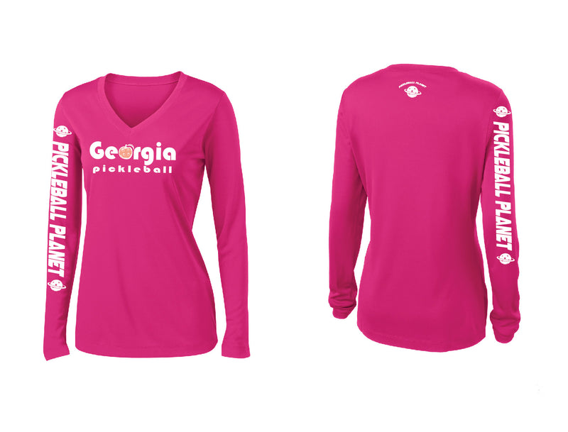 Ladies Long Sleeve Pink Raspberry Georgia Pickleball