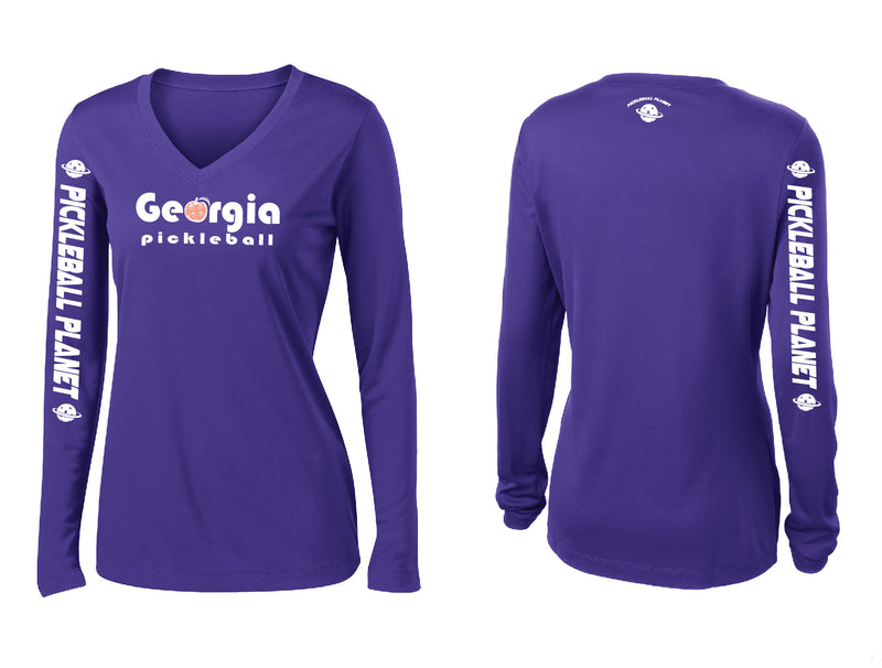Ladies Long Sleeve Purple Georgia Pickleball