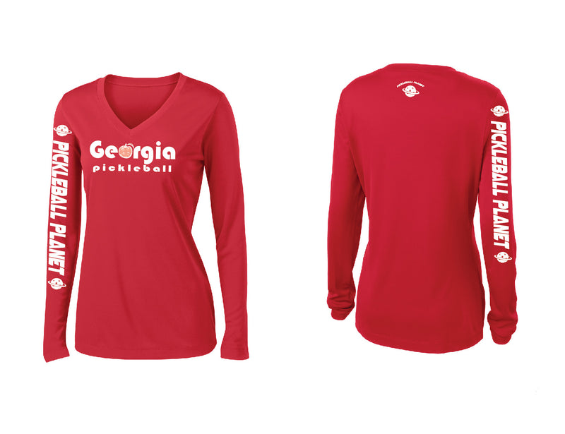 Ladies Long Sleeve Red Georgia Pickleball