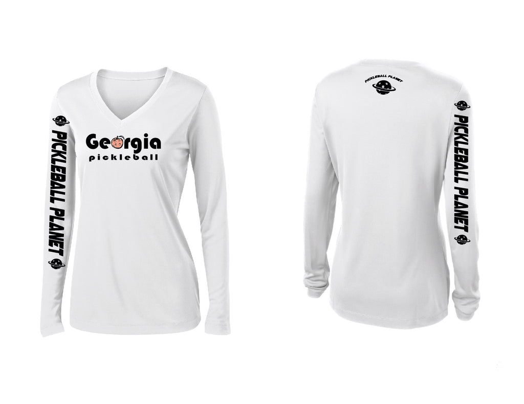 Ladies Long Sleeve White Georgia Pickleball