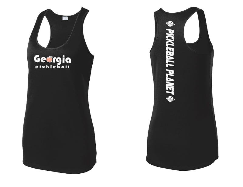 Ladies Racerback Tank Black Georgia Pickleball