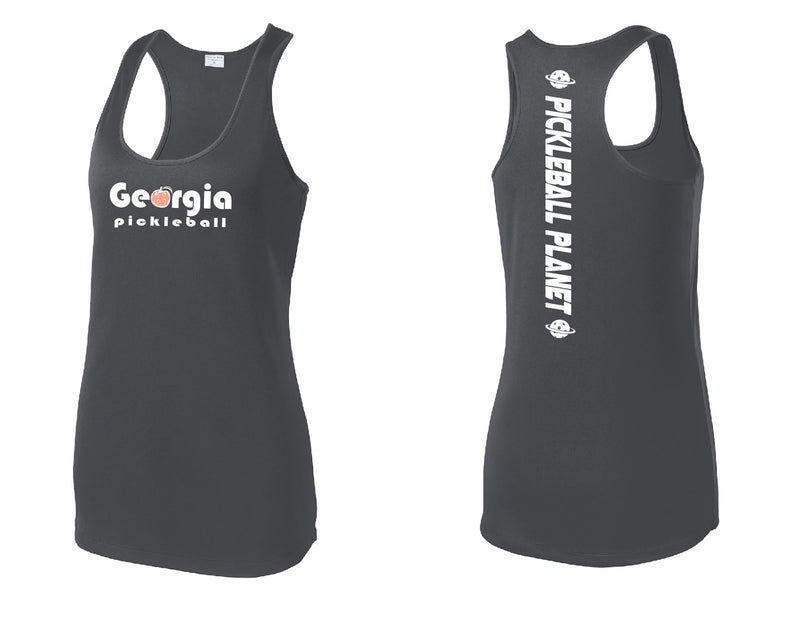 Ladies Racerback Tank Iron Gray Georgia Pickleball