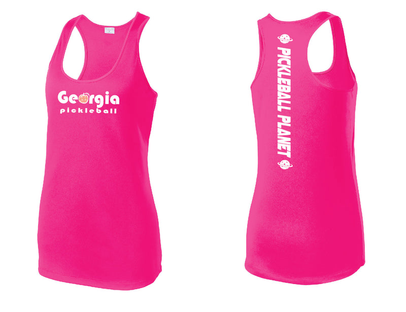 Ladies Racerback Tank Neon Pink Georgia Pickleball