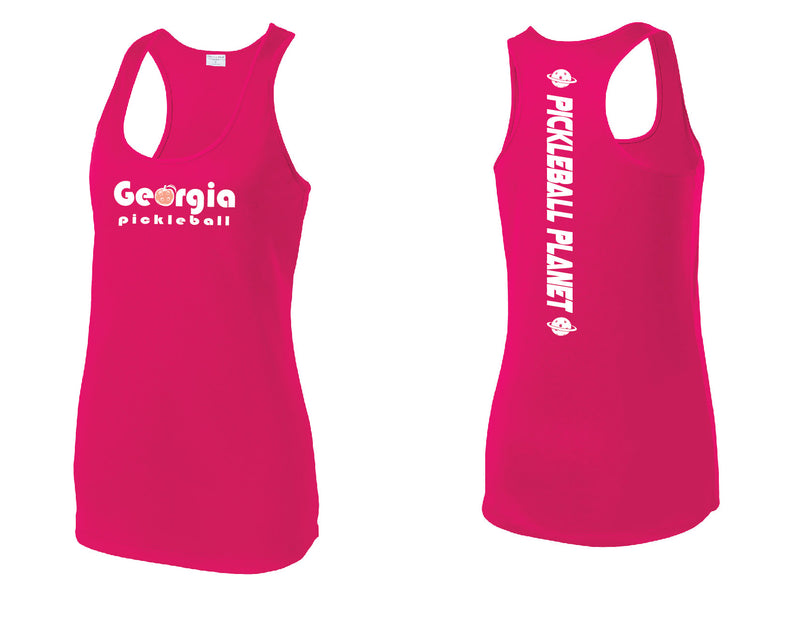Ladies Racerback Tank Pink Raspberry Georgia Pickleball