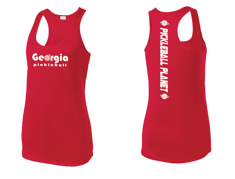 Ladies Racerback Tank Red Georgia Pickleball