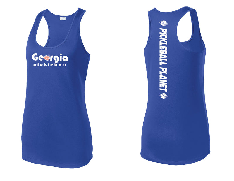 Ladies Racerback Tank Royal Blue Georgia Pickleball