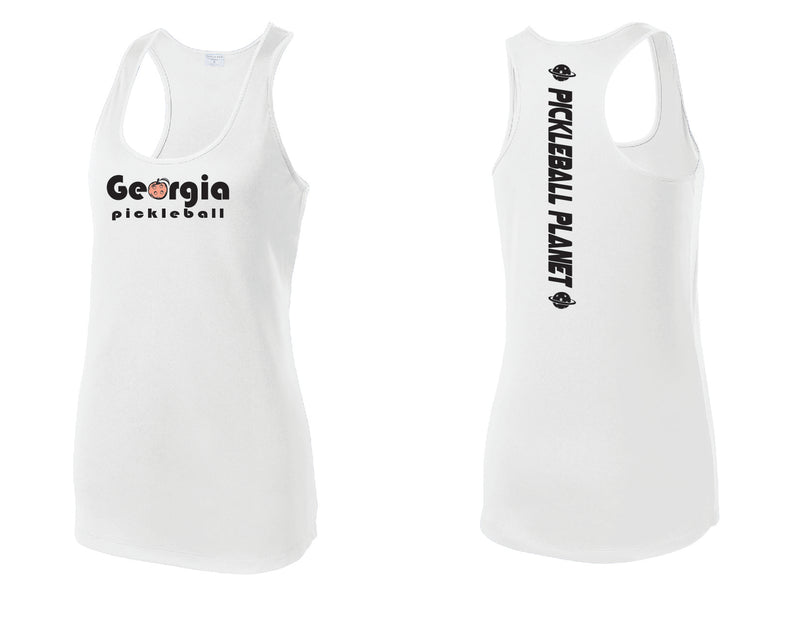 Ladies Racerback Tank White Georgia Pickleball