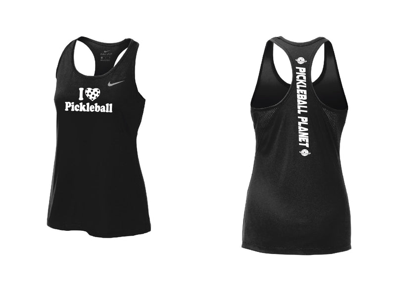 Ladies Nike Dry Balance Tank 'I Love Pickleball' Black