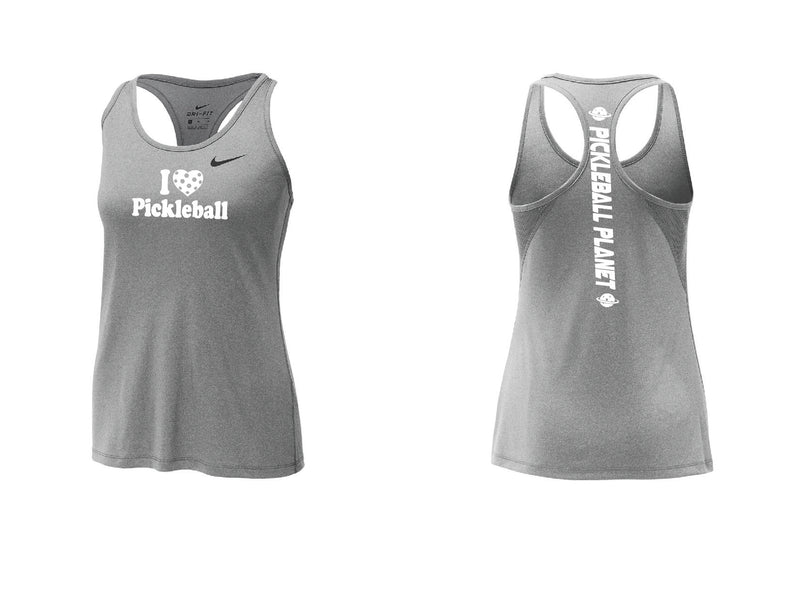 Ladies Nike Dry Balance Tank 'I Love Pickleball' Carbon Heather