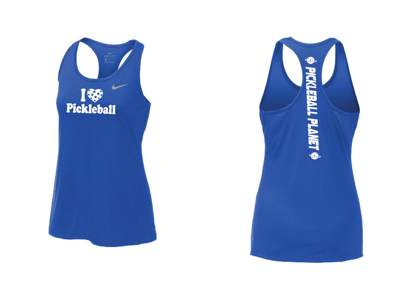 Ladies Nike Dry Balance Tank 'I Love Pickleball' Game Royal