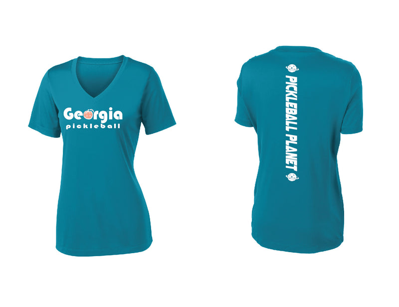 Ladies Short Sleeve Tropic Blue Georgia Pickleball
