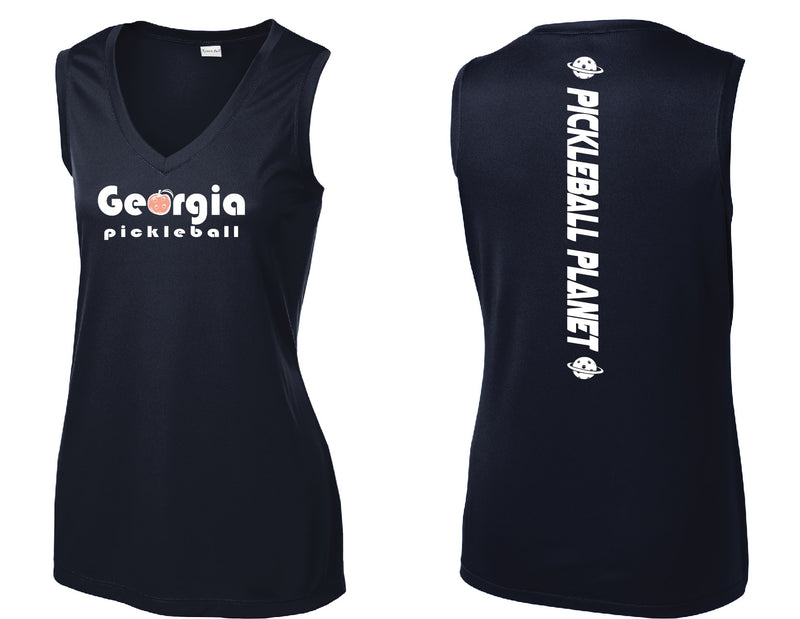Ladies Sleeveless Tank Navy Blue Georgia Pickleball